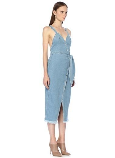 Nanushka Sırtı Çapraz Midi Anvelop Jean Elbise Mavi